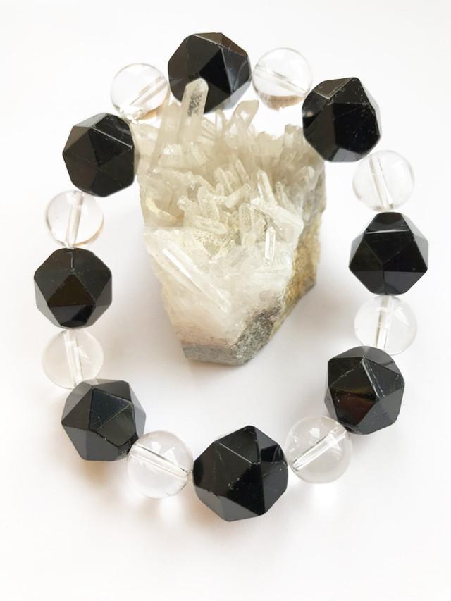 ★16mm玉★ブラックトルマリン&水晶 お洒落な24面カット♫【健康】【魔除け】