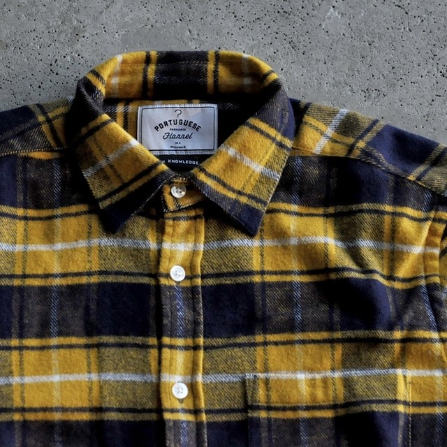 Portuguese flannel shirt - yellow × navy check-