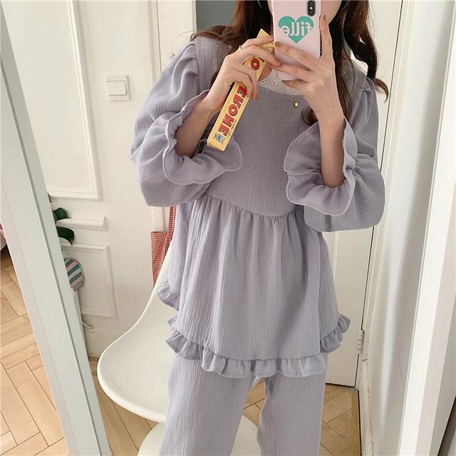 Frill Long Sleeve Pajamas(Glay)