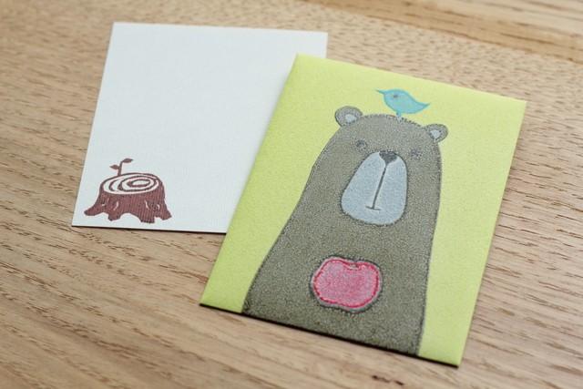 ぽち袋&カードセット「トリとクマ」版画工房みのむし