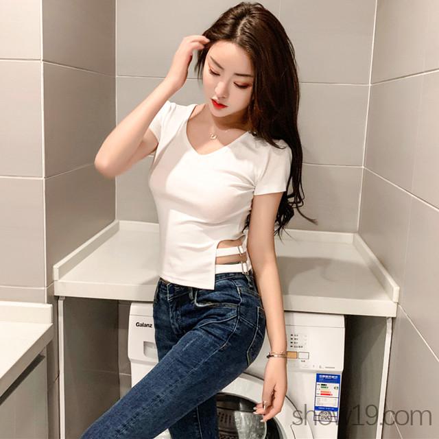 【トップス】簡約・シンプルVネックプルオーバーTシャツ19837439