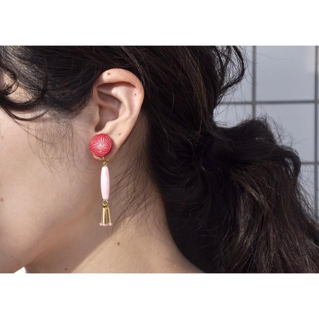 tiravisù【 pink _ gold earring 】american vintage handmade イヤリング