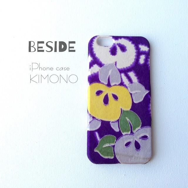 【 KIMONO 】希少☆アンティーク着物iPhoneケース(紫に橘)