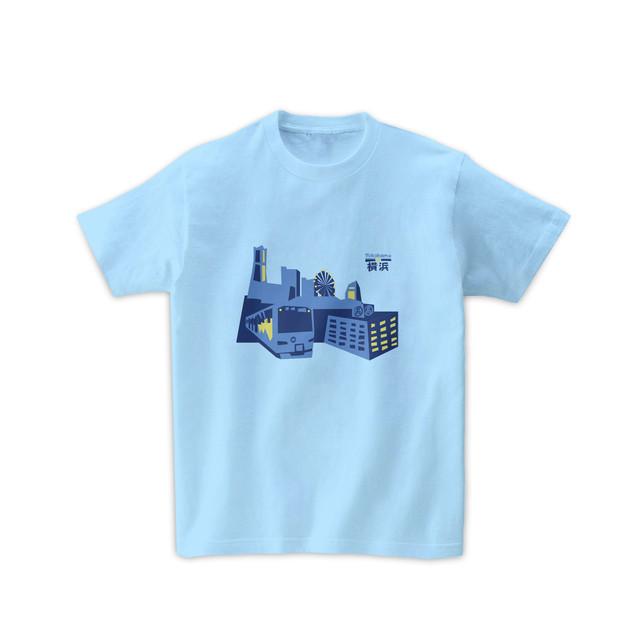 電車Tシャツ-みなとみらい線と横浜の景色(ライトブルー)