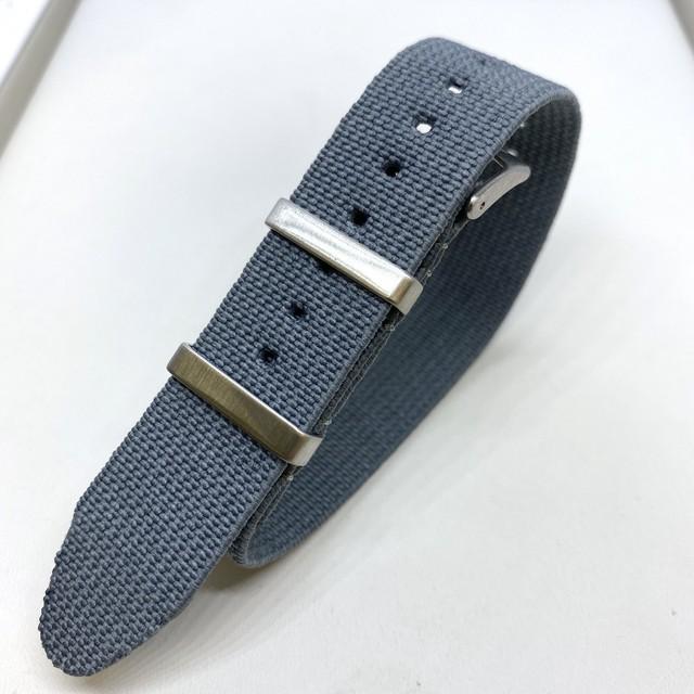 エラスティック・シングルパス ストラップ グレー 18/19/20mm 腕時計ベルト