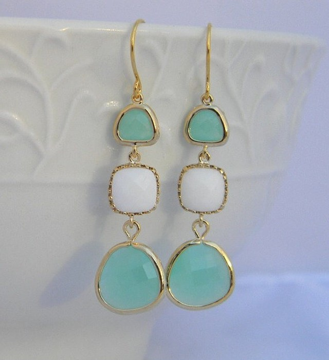Long Jewel pierced Earrings in Aqua and White Jade