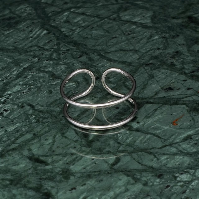S925 DOUBLE WIDE LAYERED RING