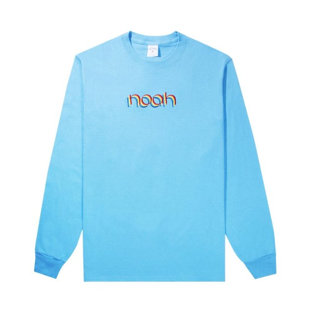 Rainbow Embroidered Long Sleeve Tee(Aquatic Blue)