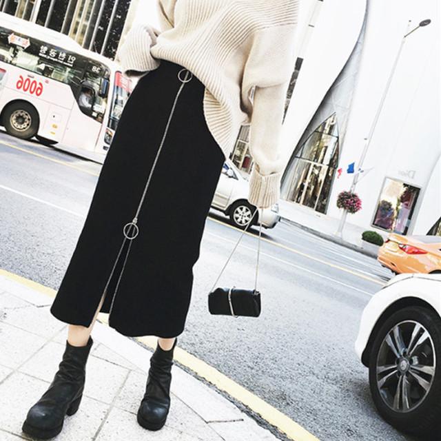 【bottoms】ハイウエスト無地ファッションすね丈ファスナースリムスカート