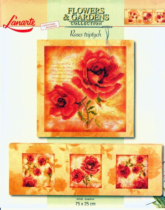 「薔薇のトリプテック(三枚続きの絵画 )」Roses triotych:C-6901