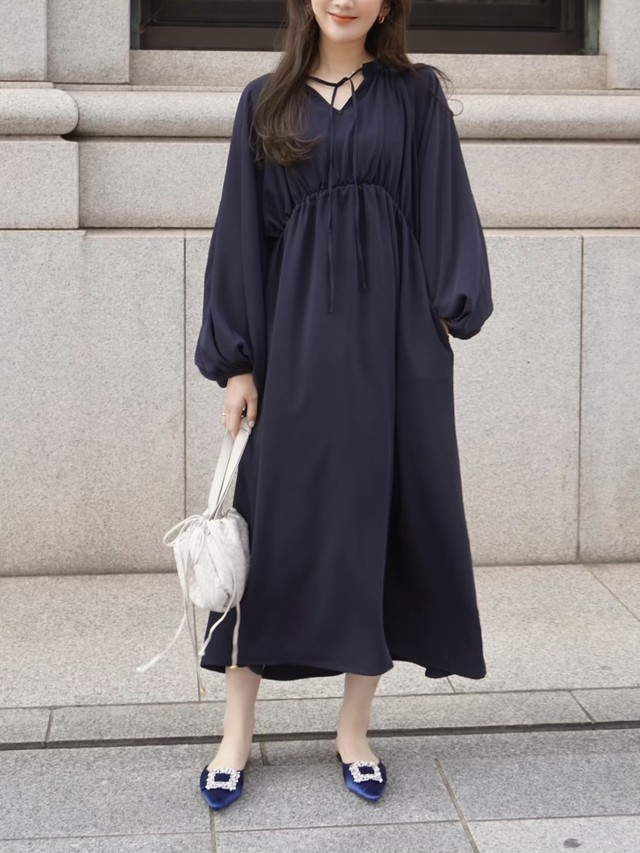 volumy drape dress / navy  4/22 21:00~再販 (即納)