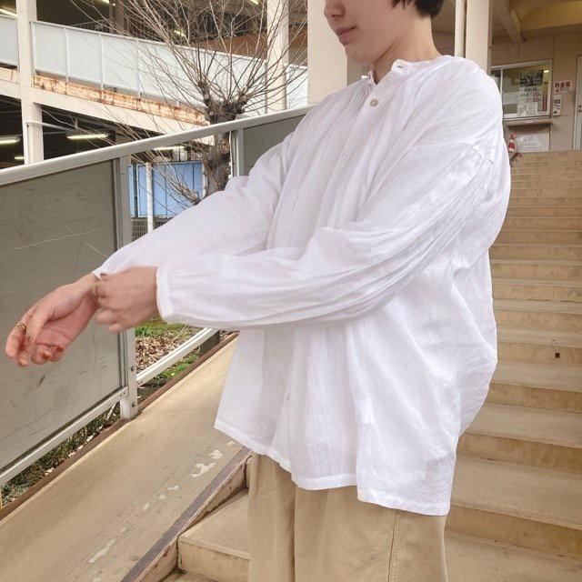 ICHI(イチ) ボリュームピンタックシャツ ホワイト