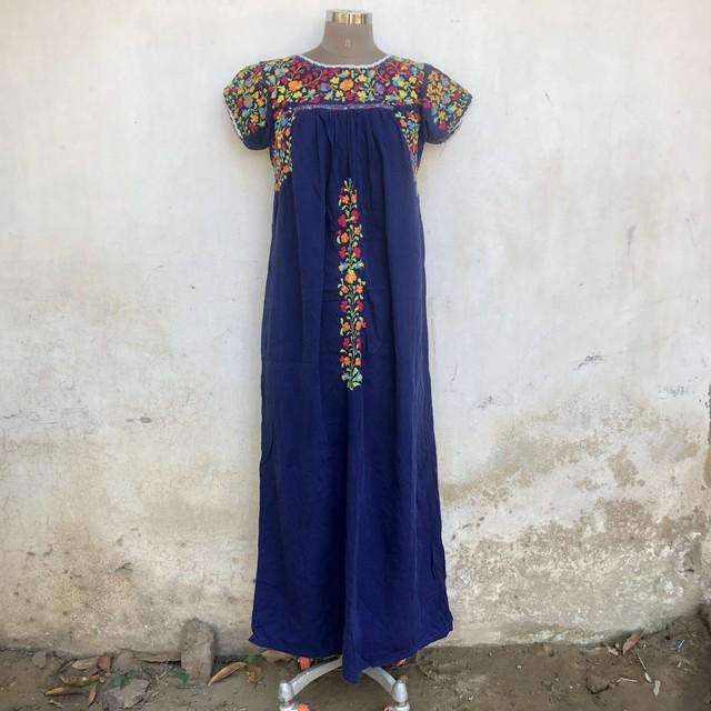 Vintage メキシカン ブルーのマキシワンピース