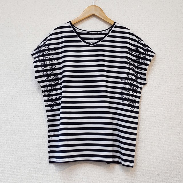 stripe&embroidery T-shirt