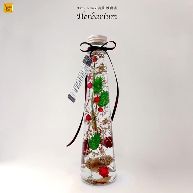 撮影雑貨店のクリスマスカラーハーバリウムBファラリス テーパーロングボトル(200ml)