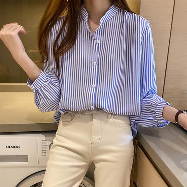 七分袖ストライプシャツ D2238