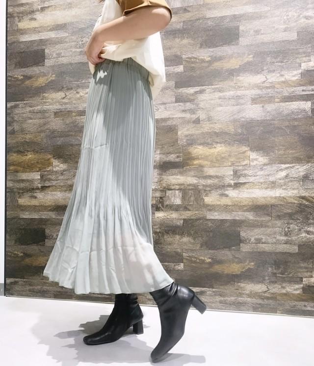 thin pleats long skirt [2105-40]