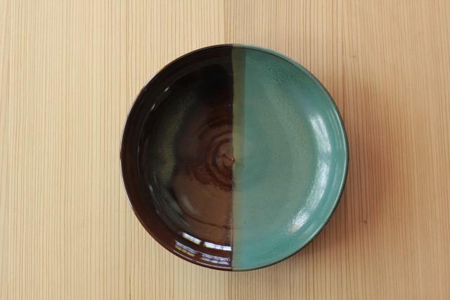 七寸皿(青×飴)21cm 鬼丸豊喜