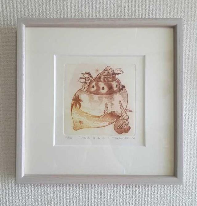 海のきおく 銅版画額付き 草木乳白25cm角