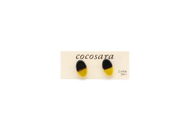 有田焼ピアス 2トーン 黒×黄色
