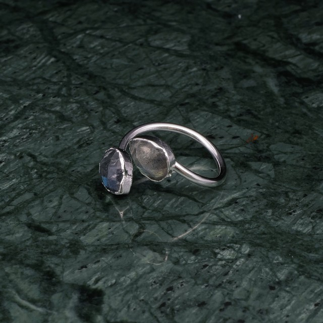 DOUBLE STONE OPEN RING SILVER 005