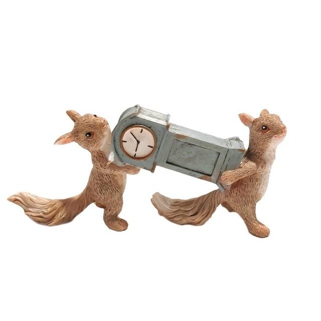 時計を運ぶリス ev14429a 2匹 リス 時計持ち りす ev14144a カントリー かわいい 置物 オブジェ かわいい 置物 置き物 オブジェ ミニチュア 小さい ギフト ミニチュアアニマル 贈り物