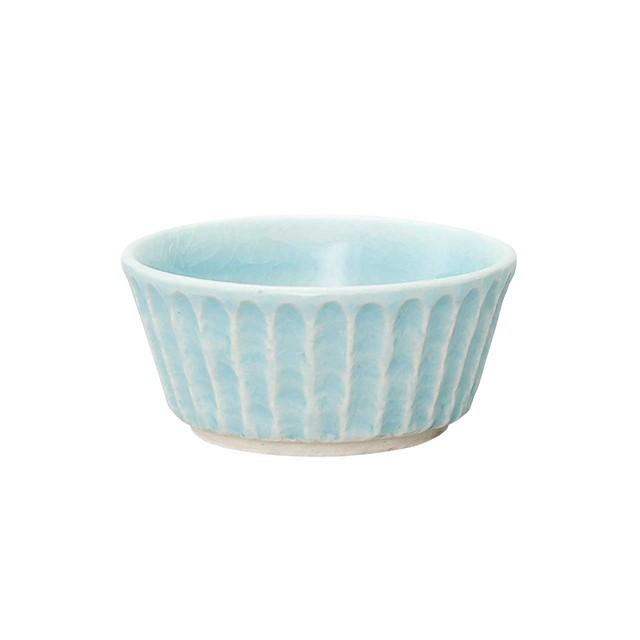 瀬戸焼 伍春窯 そぎ SOGI 小鉢 皿 約9cm スカイ ブルー 127-0408