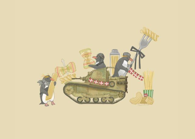 【南極ホタル堂】 複製画「Penguin Tank L3/33 & Macaroni penguin」