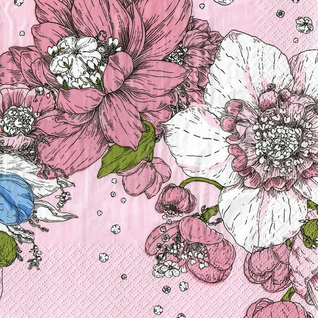 北欧【havi】バラ売り1枚 ランチサイズ ペーパーナプキン Sydäntalvi ピンク Designed by Nuppu