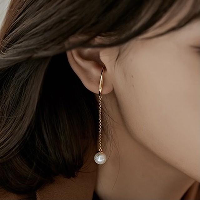 chain pearl + short ear cuff set