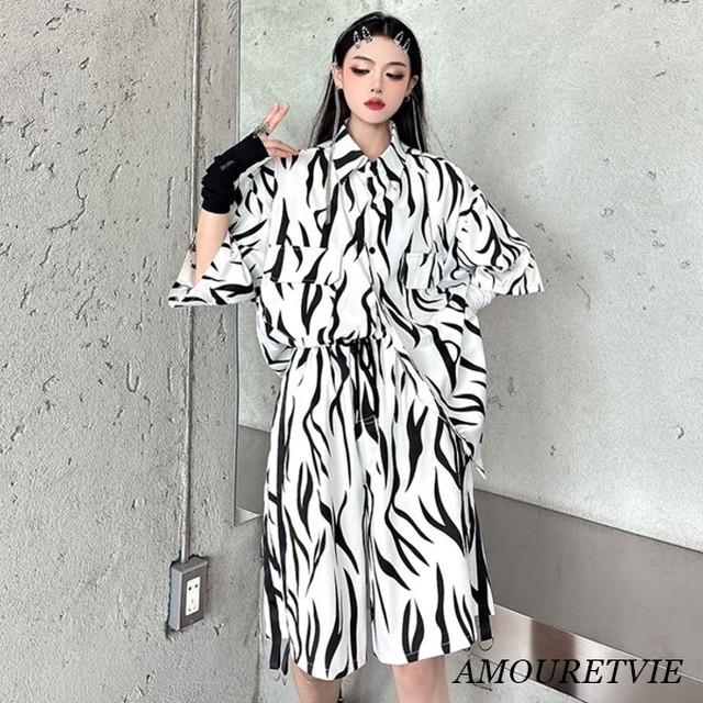 トップス ボトムス 上下セット ゼブラ柄 ビッグサイズ オーバーサイズ ハーフパンツ 韓国ファッション 2128