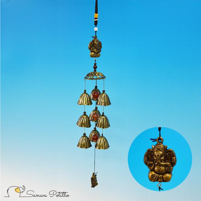 ガネーシャとお花の傘の風鈴 ドアベル チャイム N18115 吊り下げタイプ ゴールド 涼感 冷感 癒し プレゼント ギフト 贈り物