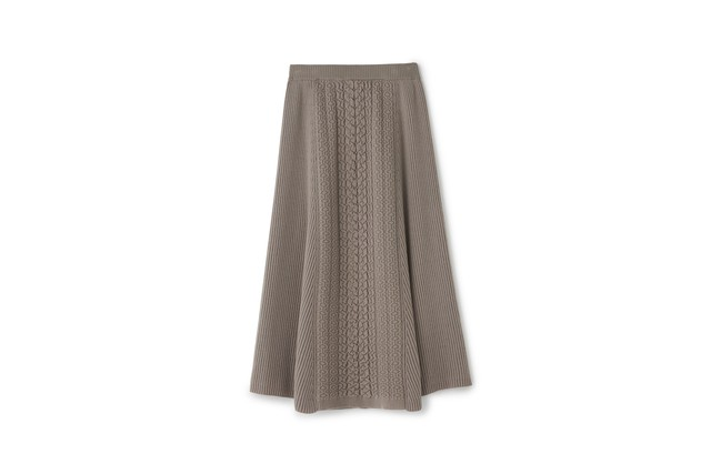 CABLE MOTIF FLAIR SKIRT - [GRAY]