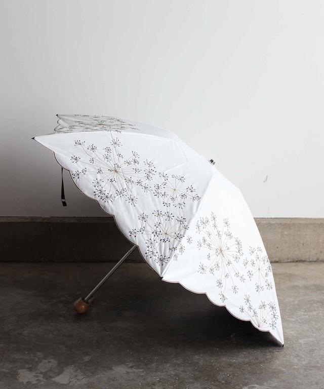 【フェンネル花刺繍】雨天兼用日傘 (折りたたみ)ホワイト