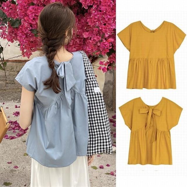ブラウス バックリボン ギャザー 切り替え カットソー 半袖 韓国ファッション レディース ラウンドネック 大人可愛い ガーリー フェミニン / Bow shirt top to reduce sweet age (DTC-641752212275)
