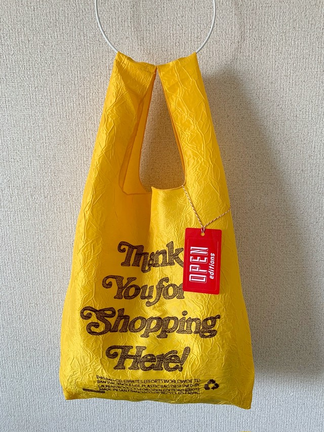 【OPEN EDITIONS / 送料無料】THANK YOU TOTE エコバッグ/ THANK YOU FOR SHOPPING HERE Yellow