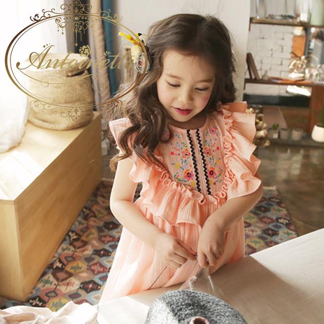チュニックワンピース 春夏 花柄刺繍 エスニック パフスリーブ ゆったり 半袖 キッズ 子供服 刺繍