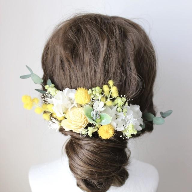 黄色、白ガーベラの髪飾り