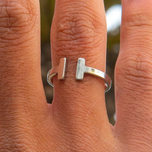 T Letter Square Ring 【SILVER】