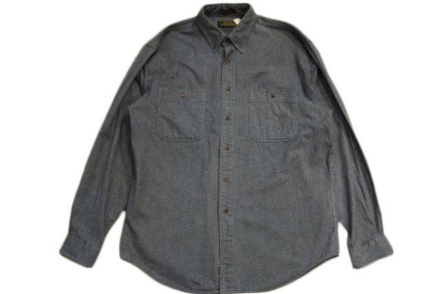 USED 美品 エディーバウアー  L/S フランネルシャツ ブルーグリーン系
