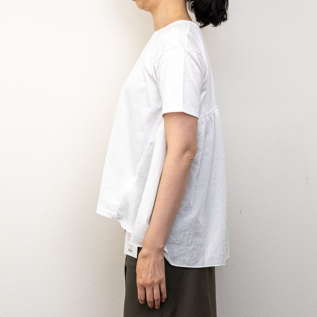 【MICA&DEAL/マイカアンドディール】バックペプラムカットソー(ホワイト)