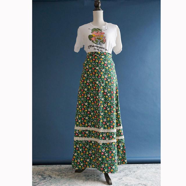 【送料無料】70's Green Floral Print In Bright Colors Maxi Skirt