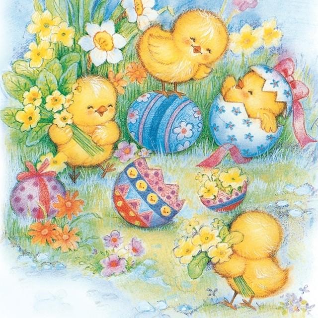 入荷しました|2020春夏【Maki】バラ売り2枚 ランチサイズ ペーパーナプキン Joyful Little Chickens カラフル