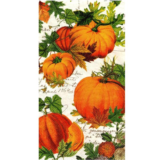 【MICHEL DESIGN WORKS】バラ売り1枚 ディナーサイズ ペーパーナプキン PUMPKIN MELODY オレンジ