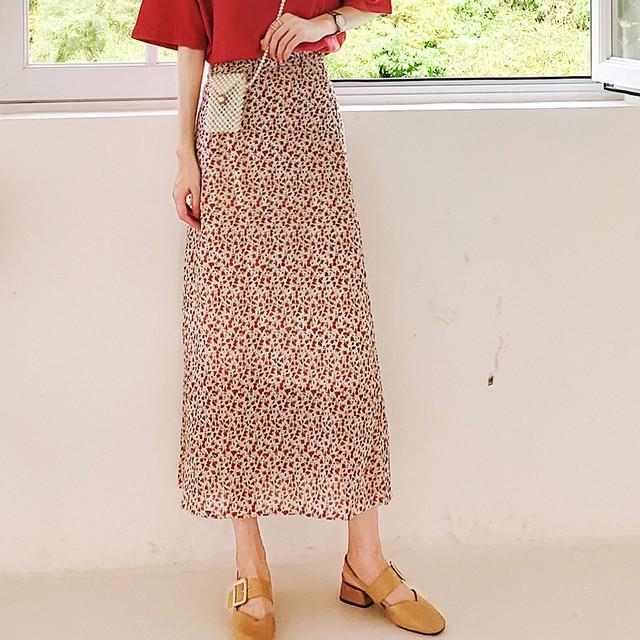 ロングスカート ボトムス プリーツスカート レディースファション 韓国風 シンプル 着痩せ 合わせやすい 花柄 S M シフォン 可愛い