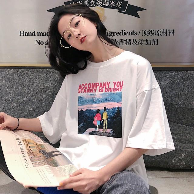 【tops】カジュアル合わせやすいアルファベットプルオーバープリント半袖Tシャツ