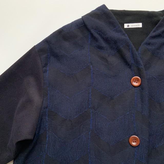【C/W JQコート】播州織 C/W  JQ/ネイビー/original textile