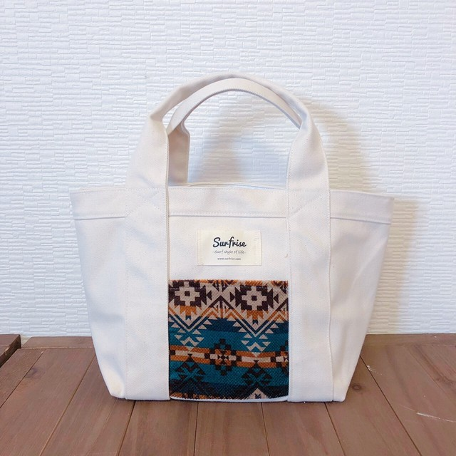 White camp tote bag S - Blue