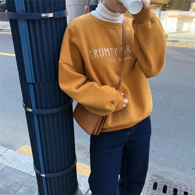 【トプッス】新作韓国風ゆるリラックス合わせやすい着痩せ無地長袖パーカー