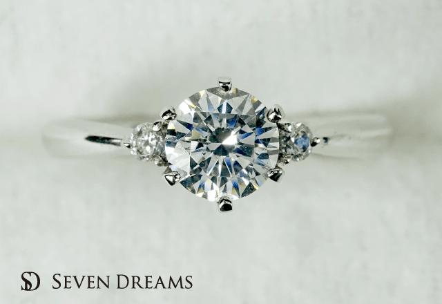 ジルコニウム婚約指輪  6ポイント2サイドダイヤモンドエンゲージ